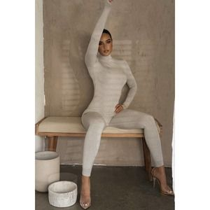 JLUXLABEL High Neck Gray Ribbed Jumpsuit